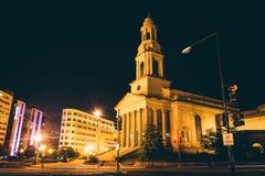 A cidade nacional Christian Church e Thomas Circle na noite, i Imagens de Stock