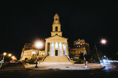 A cidade nacional Christian Church na noite, em Thomas Circle estava dentro Imagens de Stock Royalty Free