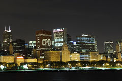 Cidade Nightshot de Chicago imagens de stock