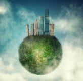 Cidade no globo verde imagem de stock royalty free