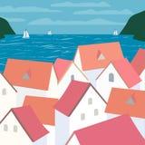 Cidade no mar ilustração do vetor