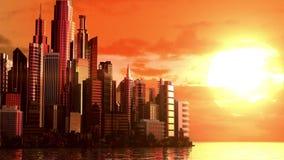 Cidade no nascer do sol ilustração stock