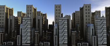 A cidade no nascer do sol - o busi Fotografia de Stock
