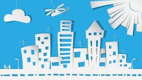 Cidade no papel Imagens de Stock Royalty Free