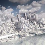 Cidade no penhasco congelado ilustração stock