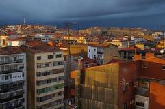 Cidade no por do sol fotos de stock