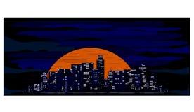 Cidade no por do sol Fotografia de Stock Royalty Free