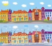 Cidade no verão e no inverno Imagens de Stock Royalty Free