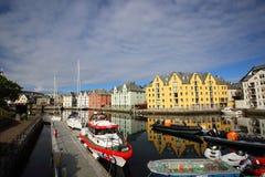 Cidade norueguesa Alesund Fotografia de Stock