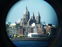 Cidade nos binóculos Foto de Stock Royalty Free