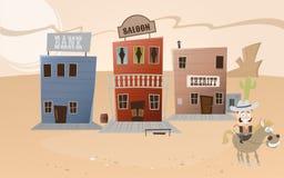 Cidade ocidental dos desenhos animados engraçados Fotos de Stock Royalty Free