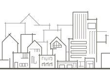 Cidade panorâmico linear do esboço Imagem de Stock Royalty Free