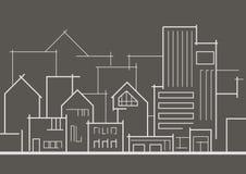 Cidade panorâmico linear do esboço no fundo cinzento Imagem de Stock Royalty Free