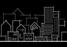 Cidade panorâmico linear do esboço no fundo preto Imagens de Stock