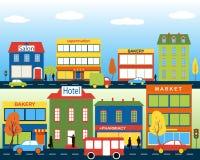 Cidade pequena com negócio pequeno e médio ilustração do vetor