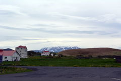 Cidade pequena de Myvatn na costa do lago no oeste de Islândia Imagens de Stock Royalty Free