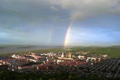 cidade pequena do arco-íris Imagens de Stock