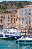 Cidade pequena do porto do recurso da ilha de Córsega no verão Imagem de Stock Royalty Free