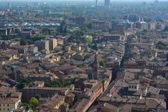A cidade pequena e amigável da Bolonha, do Itália, de famosos para lasanhas mim tortellini e mortadella fotografia de stock royalty free