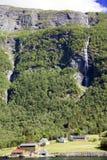 Cidade pequena em um Lysefjord Imagens de Stock