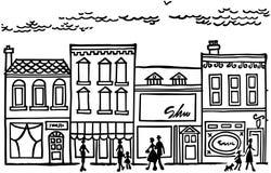 Cidade pequena Main Street Imagens de Stock Royalty Free
