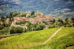 Cidade pequena Montefioralle em Toscânia, Itália fotografia de stock royalty free