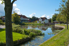 Cidade pequena típica em Dinamarca Imagem de Stock Royalty Free