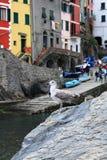 A cidade perto do litoral e da gaivota senta-se em uma rocha Fotos de Stock Royalty Free