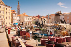 A cidade Piran Fotos de Stock Royalty Free