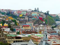 A cidade pitoresca de Valparaiso, o Chile foto de stock