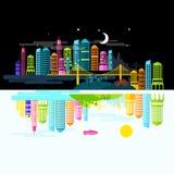Cidade por dia e noite Fotografia de Stock