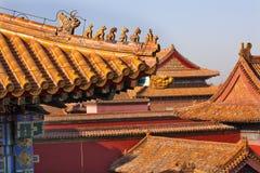 Cidade proibida Beijing dos Figurines do telhado telhados amarelos Imagem de Stock Royalty Free