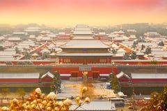 A Cidade Proibida neva, Pequim China fotos de stock