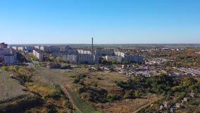 Cidade provincial outono Tiro aéreo video estoque