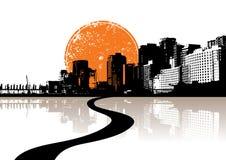 Cidade refletida na água. ilustração royalty free