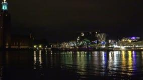 Cidade salão em Éstocolmo sweden Noite, luzes video estoque