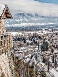Cidade sangrada no inverno, Eslovênia Foto de Stock Royalty Free