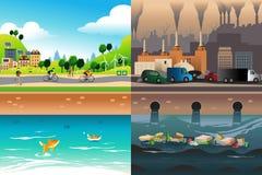 Cidade saudável contra a cidade poluída ilustração do vetor