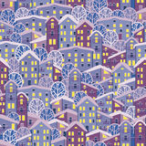 Cidade sem emenda do inverno da noite Fotos de Stock