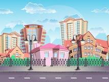 Cidade sem emenda do verão da textura para jogos de computador, design web, etc. ilustração stock
