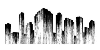 cidade Silhueta do preto da metrópole do sumário com textura foto de stock royalty free