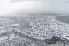 A cidade skyline da cidade de Hakodate, Hakodate, Hokkaido, Japão de Imagem de Stock