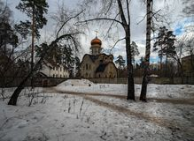 Cidade Snow-covered moscow Rússia fotos de stock