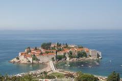 Cidade St.Stephan da ilha no mar de adriático, Montenegro Imagem de Stock Royalty Free