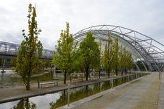 A cidade Stadt Leipzig Alemanha Deutschland de Messe da feira de comércio fotografia de stock