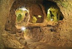 Cidade subterrânea da caverna de Derinkuyu, Cappadocia Fotos de Stock Royalty Free