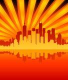 Cidade/Sunburst ilustração royalty free