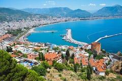 Cidade turca de Alanya no mar Mediterrâneo Fotos de Stock