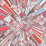 Cidade urbana colorida do mosaico do vetor dos arranha-céus Imagens de Stock