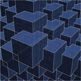 A cidade urbana encaixota o cubo com linhas escondidas vetor 173 Fotografia de Stock
